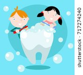 dental health campaign for kid. ... | Shutterstock .eps vector #717274240