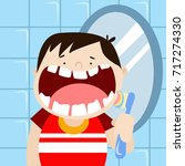 dental health campaign for kid. ... | Shutterstock .eps vector #717274330