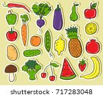fruits and vegetables stickers | Shutterstock .eps vector #717283048