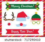 christmas photo booth vector... | Shutterstock .eps vector #717290410