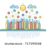smart city with advanced... | Shutterstock . vector #717290548