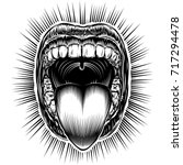 open mouth with teeth and... | Shutterstock .eps vector #717294478