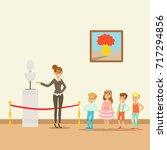 kids in museum looking at... | Shutterstock .eps vector #717294856