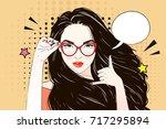 comic pop art long hair woman... | Shutterstock .eps vector #717295894