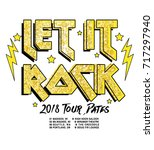 let it rock  music type print... | Shutterstock .eps vector #717297940