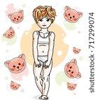 cute little redhead girl in... | Shutterstock .eps vector #717299074