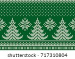 winter holiday seamless knitted ... | Shutterstock .eps vector #717310804