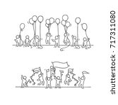sketch of crowd little people.... | Shutterstock .eps vector #717311080