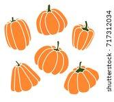Pumpkins Set. Silhouette On...