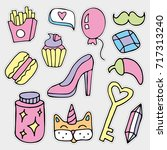 colorful vector patch set   80s ... | Shutterstock .eps vector #717313240