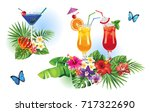 tropical summer arrangements...   Shutterstock .eps vector #717322690