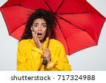 image of shocked african woman...   Shutterstock . vector #717324988