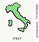 italy simple map outline  ... | Shutterstock .eps vector #717325684