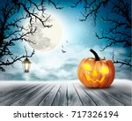 Scary Halloween Background Wit...