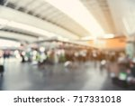 Small photo of Blurred photo of lobby of air terminal