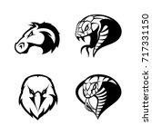 furious eagle  horse  snake ... | Shutterstock .eps vector #717331150