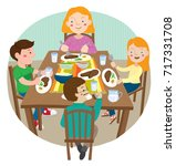 caucasian family of four... | Shutterstock .eps vector #717331708