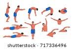 swimming man set | Shutterstock .eps vector #717336496