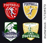 set of vintage football emblems ... | Shutterstock . vector #717339373