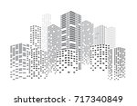 city skyscrapers illustration.... | Shutterstock . vector #717340849