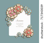 vintage card with floral corner ... | Shutterstock .eps vector #717343039