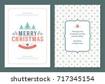 christmas greeting card design... | Shutterstock .eps vector #717345154