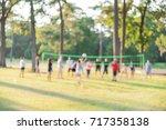 blurred group of multiethnic ... | Shutterstock . vector #717358138