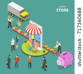 mobile store flat isometric low ... | Shutterstock .eps vector #717360688
