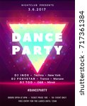 dance party poster vector... | Shutterstock .eps vector #717361384