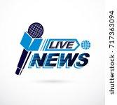 live reportage conceptual logo  ... | Shutterstock .eps vector #717363094