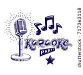 karaoke party invitation poster ... | Shutterstock .eps vector #717363118