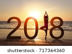 happy new year card 2018.... | Shutterstock . vector #717364360