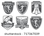 set of vintage football emblems ... | Shutterstock . vector #717367039