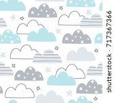seamless clouds pattern vector...   Shutterstock .eps vector #717367366