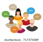 people avatar icons with dialog ... | Shutterstock .eps vector #717374389
