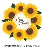 sunflower invitation. yellow... | Shutterstock .eps vector #717374410