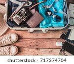 travel concept with travel bag  ...   Shutterstock . vector #717374704