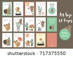 colorful cute monthly calendar... | Shutterstock .eps vector #717375550