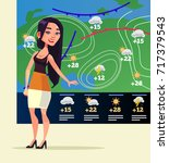 happy smiling woman weather... | Shutterstock .eps vector #717379543
