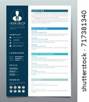 resume design template... | Shutterstock .eps vector #717381340