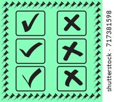 yes no tick  check icon  accept ... | Shutterstock .eps vector #717381598