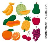 fruits collection | Shutterstock .eps vector #717383614