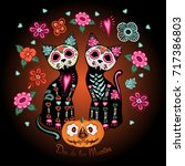 day of the dead poster  two... | Shutterstock .eps vector #717386803