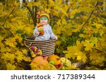 little girl in the autumn park | Shutterstock . vector #717389344