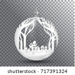 xmas and happy new year glass... | Shutterstock .eps vector #717391324