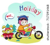 pig and rabbit holiday. cute... | Shutterstock .eps vector #717391468