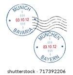 two grunge stamp ''munich  ... | Shutterstock .eps vector #717392206