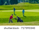 golfers at the golf course. | Shutterstock . vector #717393340