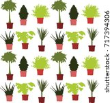color pot flower pattern   Shutterstock .eps vector #717394306
