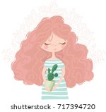 cute girl with flowers vector...   Shutterstock .eps vector #717394720